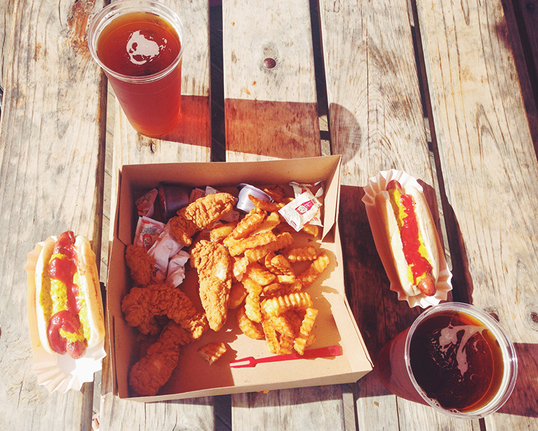 Nathan's hot dogs and fries, Coney Island Lager, picnic, American food