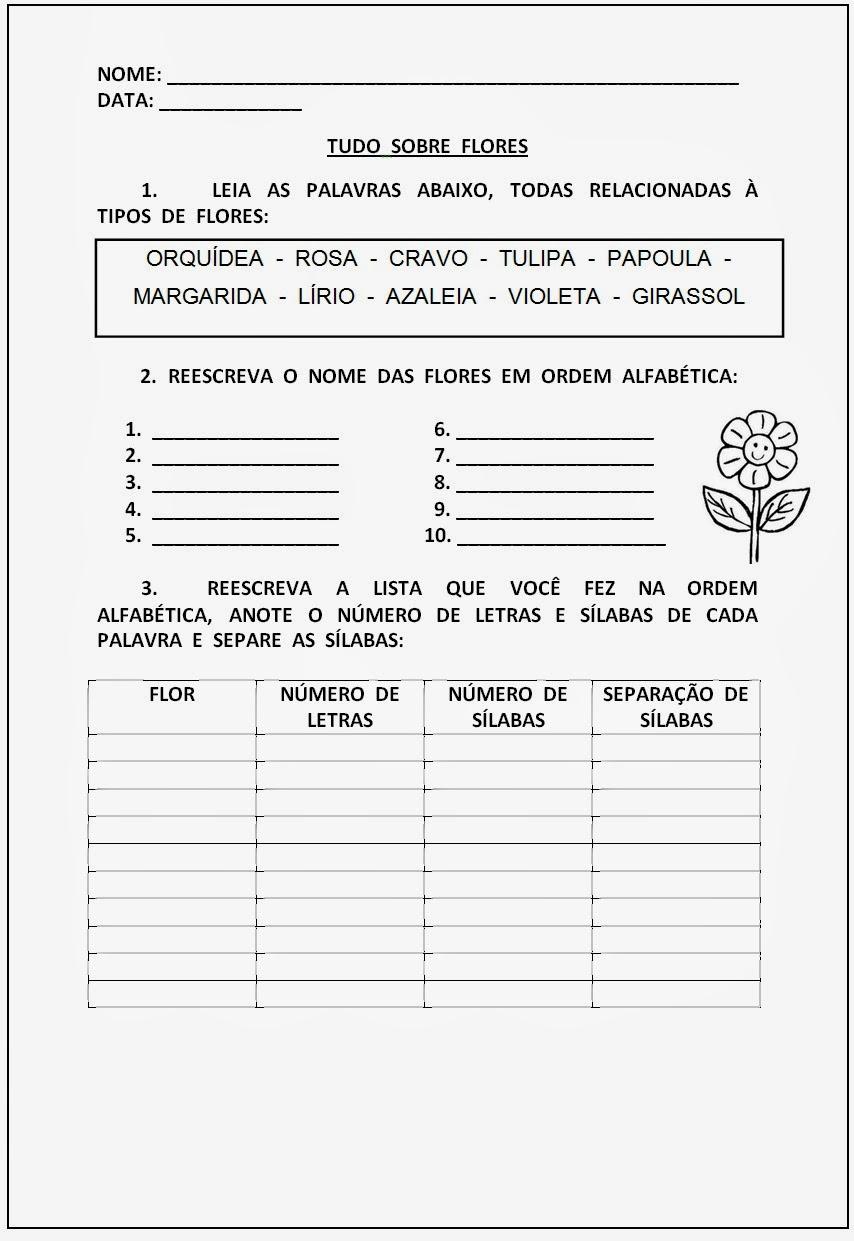 Atividades de Alfabetização para Imprimir - Tudo sobre flores
