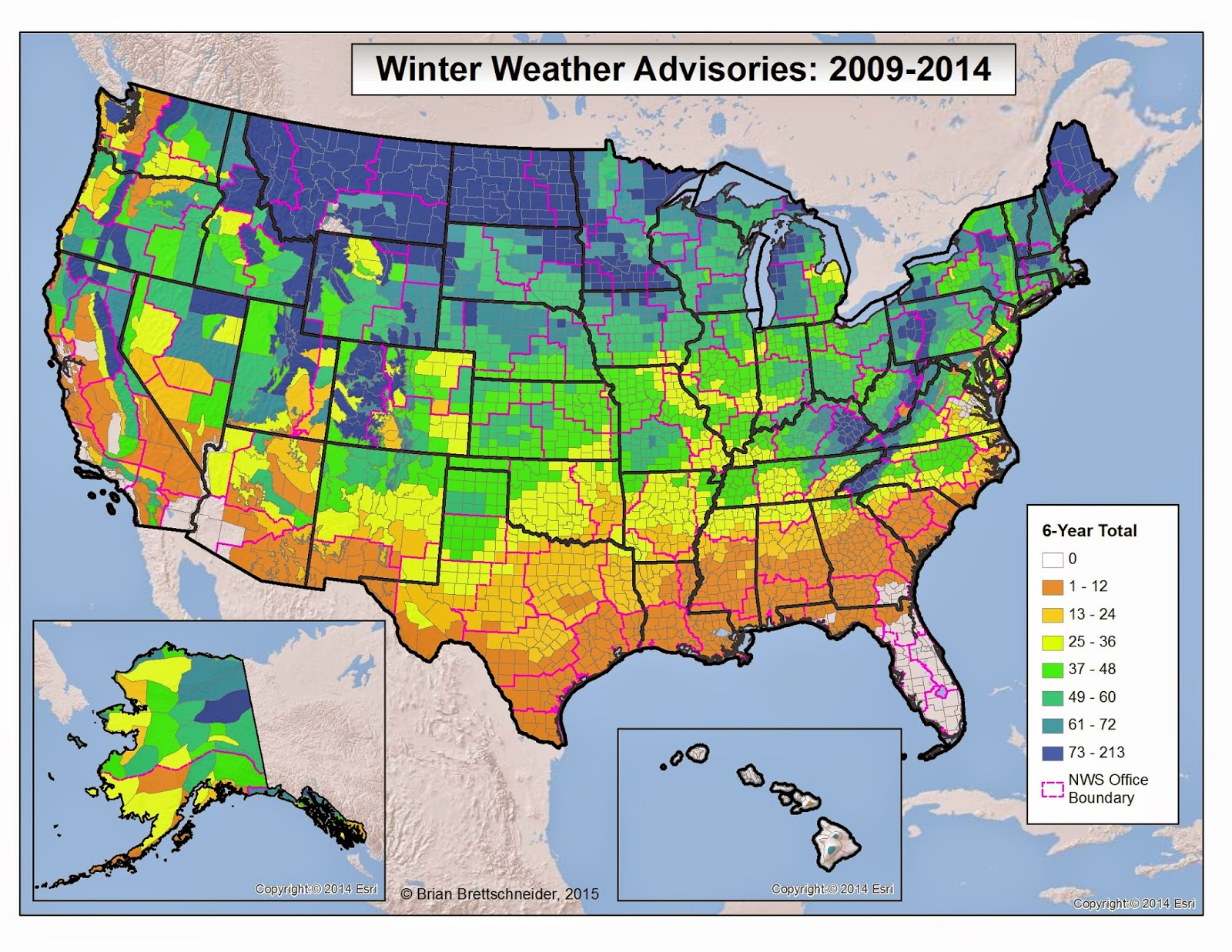 Brian Bs Climate Blog US Winter Weather Advisories And Warnings - Us weather by map
