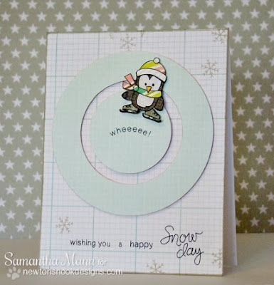 Penguin Spinner card by Samantha Mann for Newton's Nook Designs