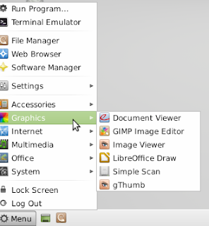 Graphics Submenu in Linux Mint 13 xfce