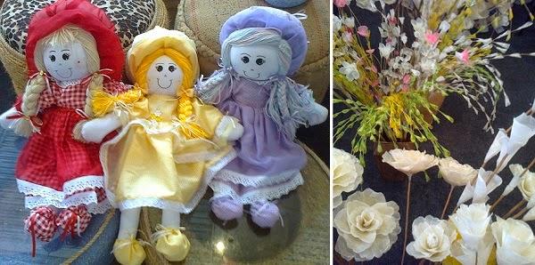 Bonecas de pano e flores de escamas de peixe Paraiba