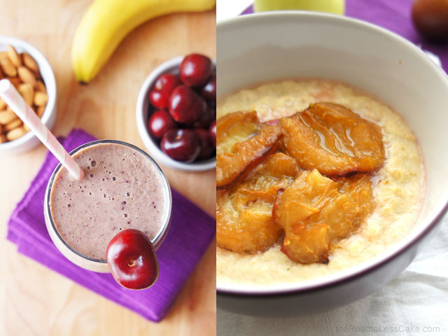Cherry Bakewell Smoothie and Eggy Oats
