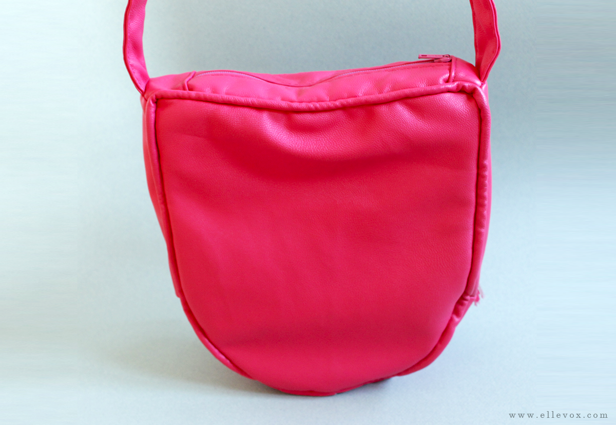 handmade pink leather shoulder bag