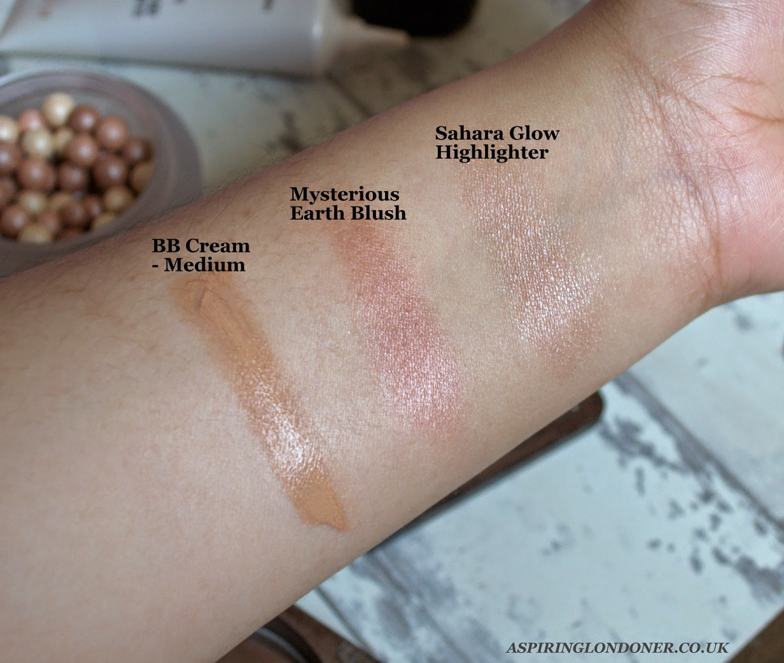 Kiko Cosmetics Modern Tribes BB Cream Baked Blush Sahara Highlighter Swatch - Aspiring Londoner