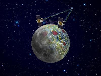 Satélites gemelos estudian la gravedad lunar