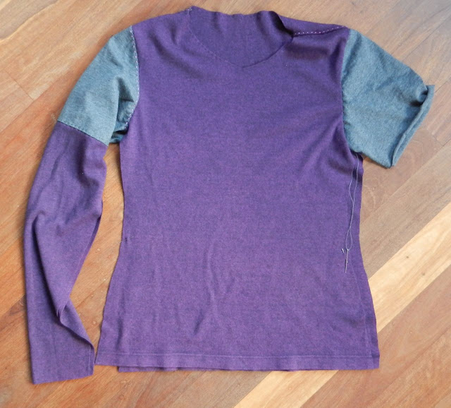 purple and grey t-shirt refashion Alabama Chanin style
