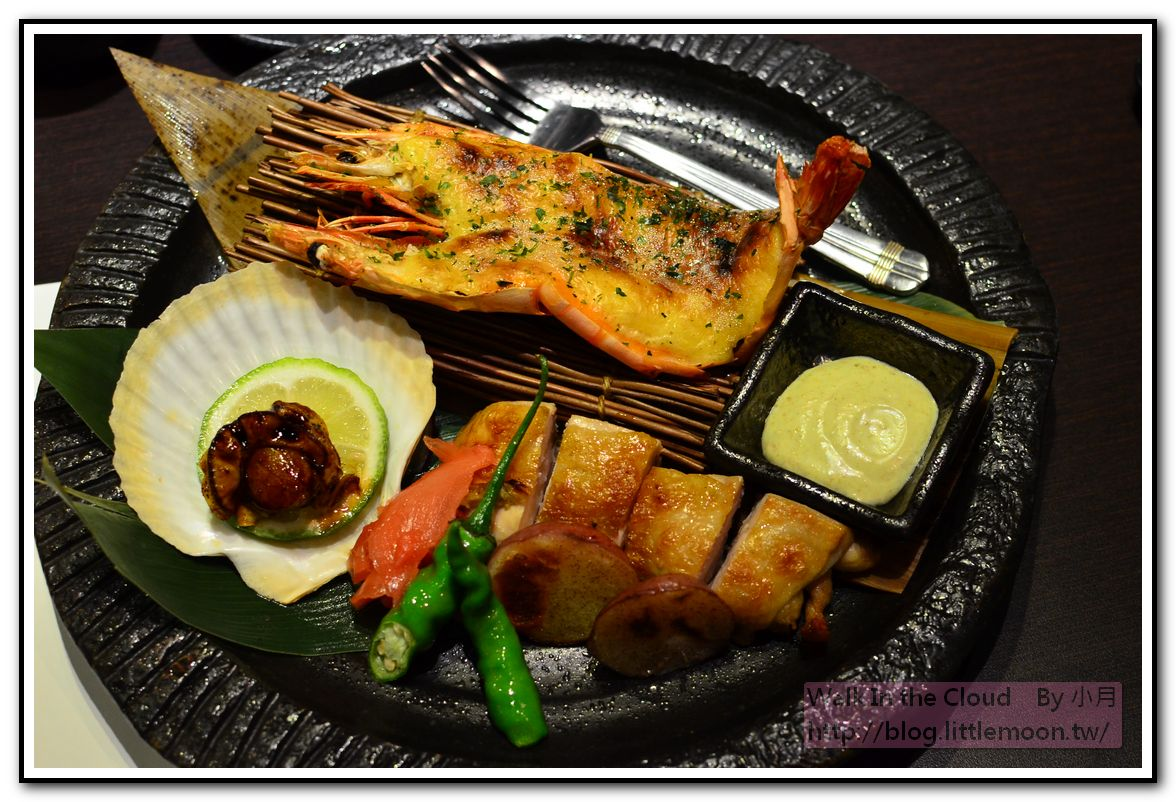 法式焗烤虎蝦、香烤大山雞