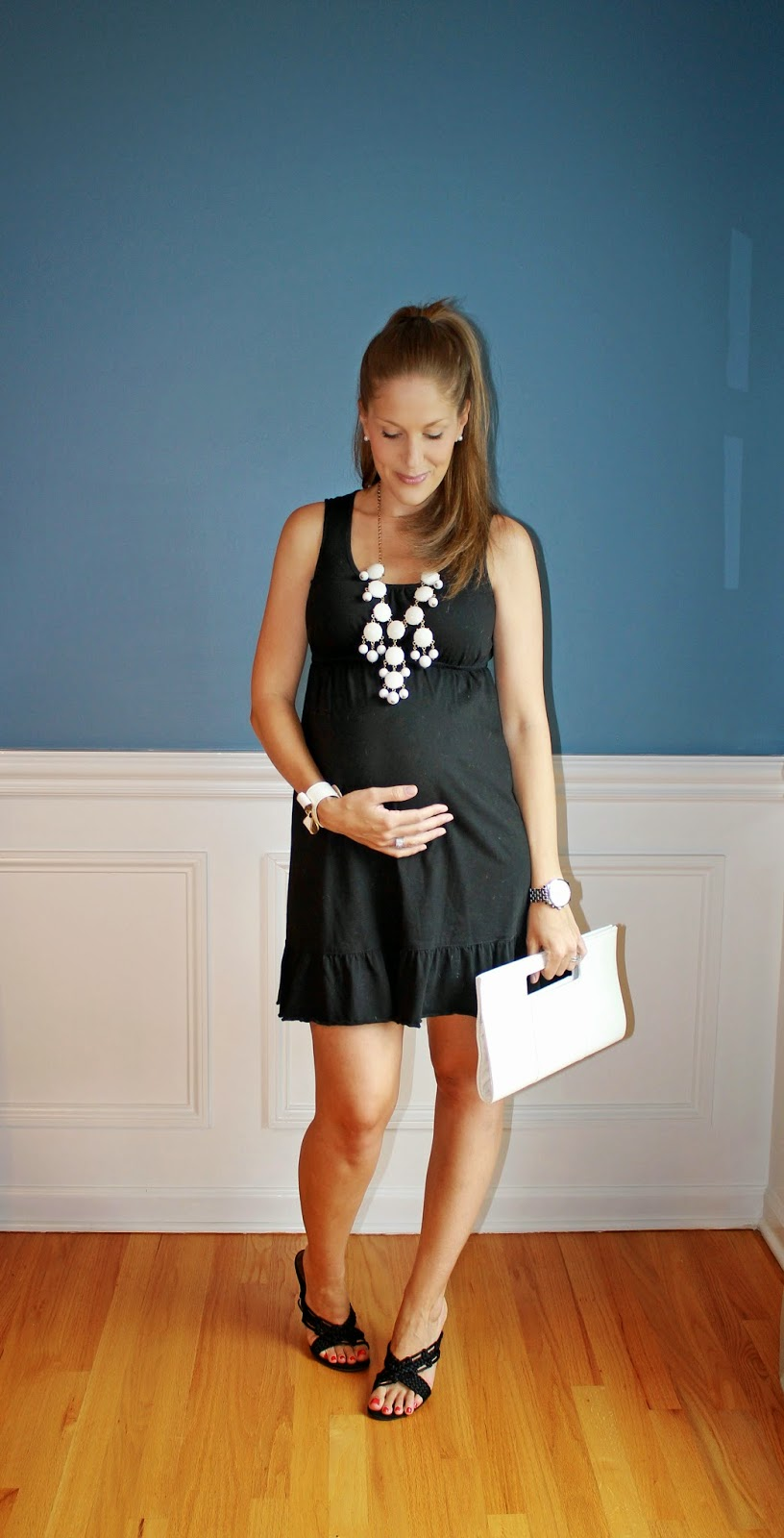 Outfitted411 little black maternity dress what im wearingdress mimi maternity similar wedges nine west white clutch charming charlie similar necklace burlington coat factory ombrellifo Gallery
