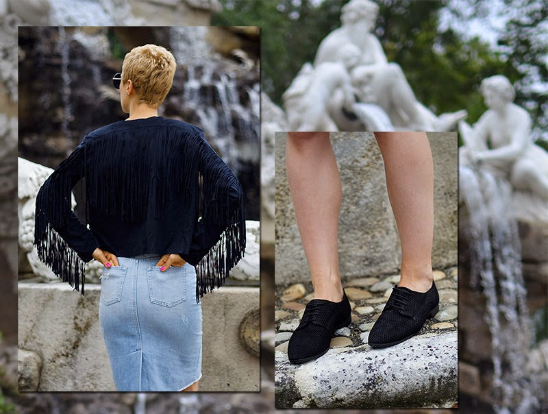 fringed jacket sheinside denim skirt zara beeswonderland