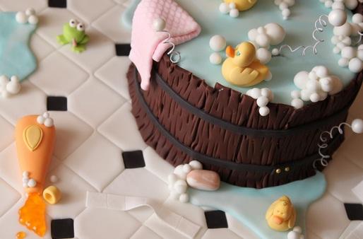 Grau dulces y reposteria tarta fondant infantil el ba o y los patitos de goma - Patitos de goma para el bano ...