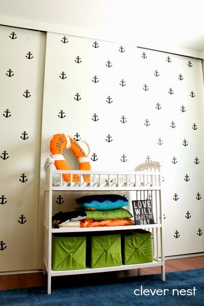 Anchor decal wall downloadable Silhouette file included #craftmonthlove #nautical #nursery #joanncrafts #boysroom #lime_aqua_navy