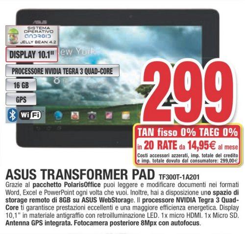 Da coment finanziamento senza interessi in 20 comode rate da 14,95 euro per il tablet Asus transformer