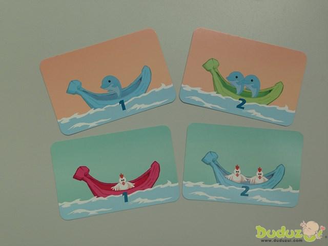 4 艘小船、2 種動物,共 6 隻(動物)