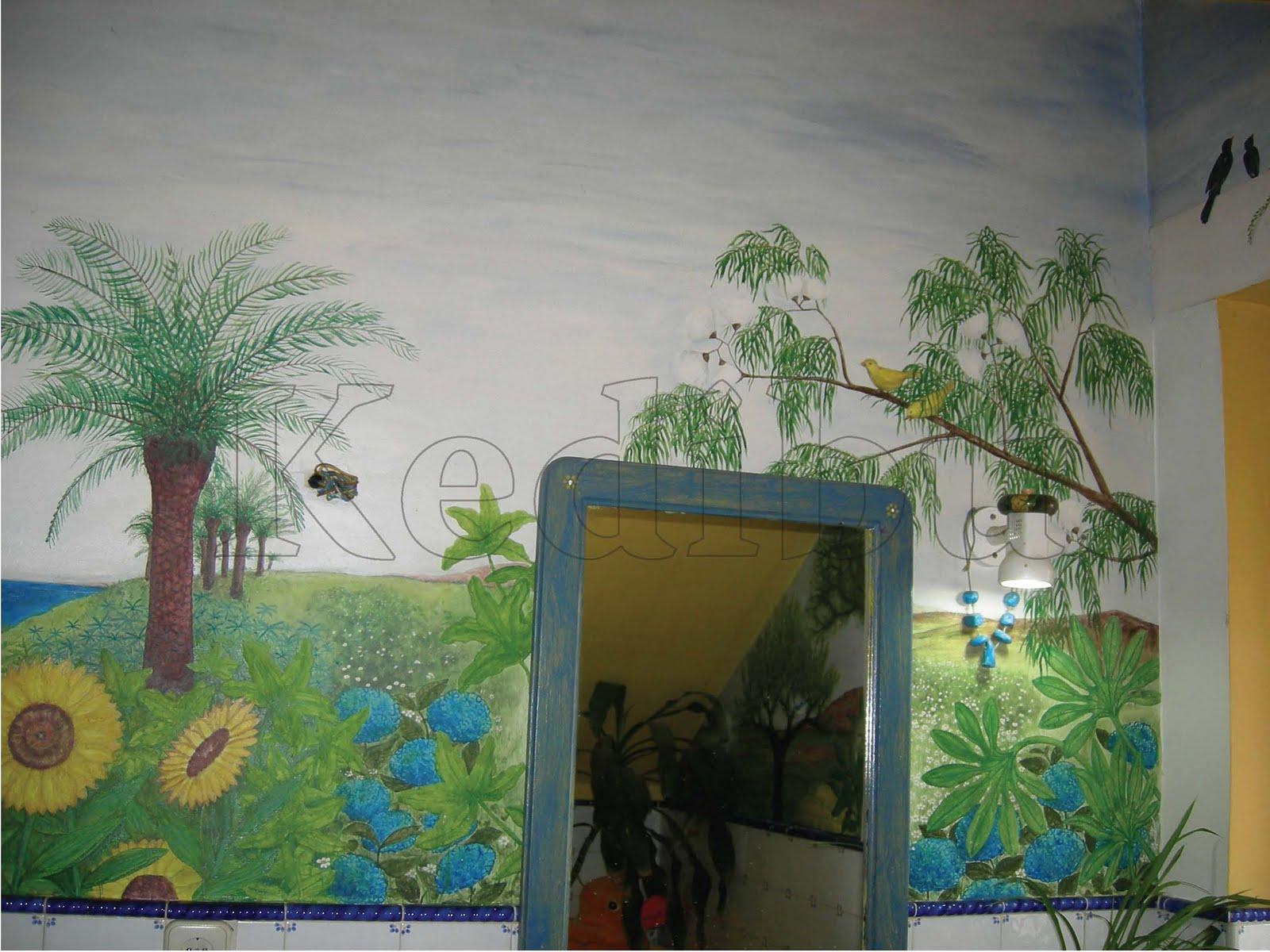 Kedibu murales y objetos decorativos mural pintado cuarto for Murales decorativos paisajes