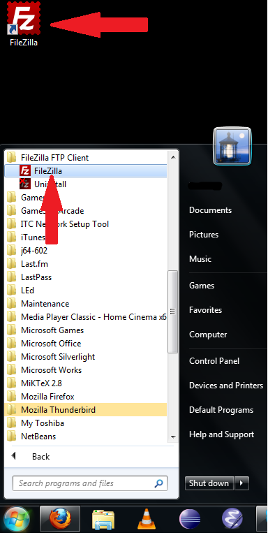 filezilla icon start file