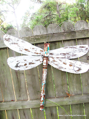 Dragonflies Layered Paint Metal Wings And Wire Wings