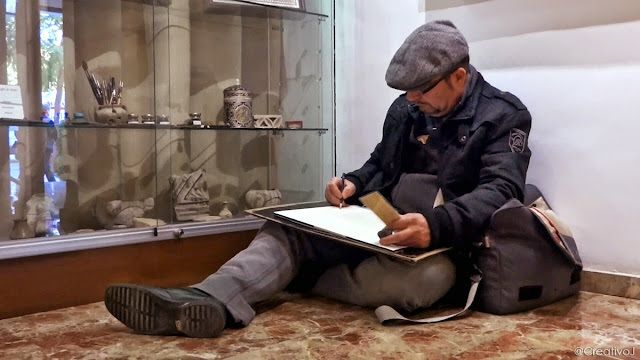 sketcher,urban sketcher,córdoba,museo,arte sobre piel,guadamecí,cordobán,cuero,piel,artesanía,dibujar,boceto,acuarela,pintura,pincel,moleskine