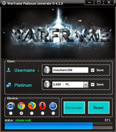 Warframe Platinum Hack Generator 2014 Free Download No Survey No Password Speciallhacks
