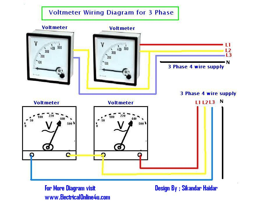 voltmeter%2Bwiring%2Bfor%2B3%2Bphase how to wire voltmeters for 3 phase voltage measuring electrical 3 phase 4 wire energy meter connection diagram at eliteediting.co