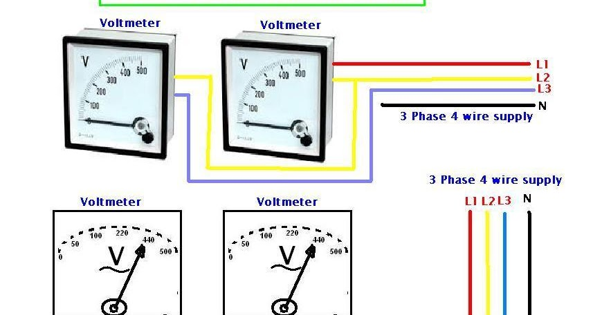 Three Phase Voltmeter : How to wire voltmeters for phase voltage measuring