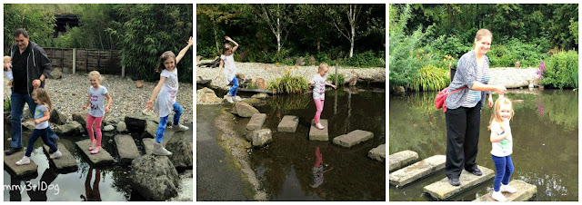 Girls on stepping stones