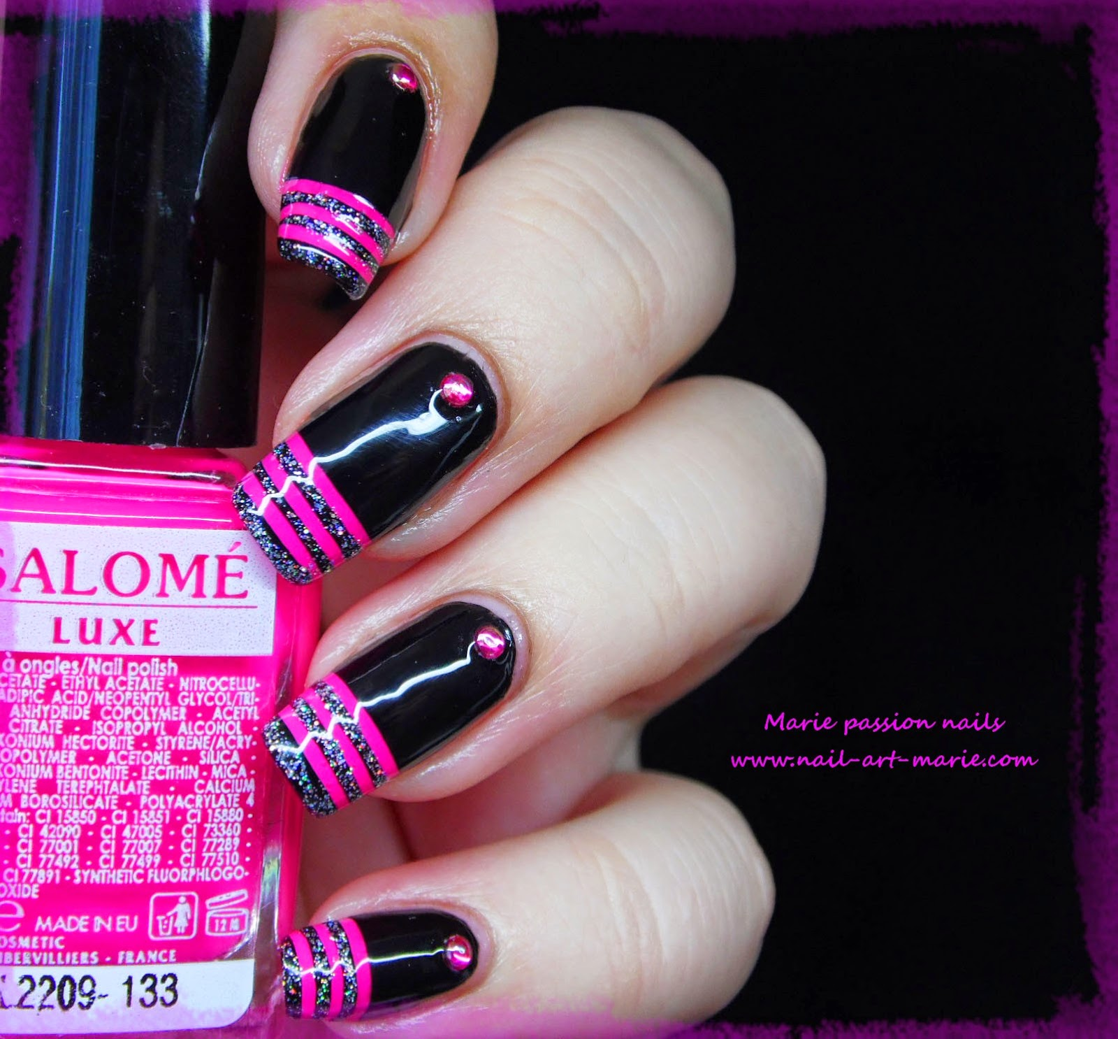 nail art french en rayures fluo1
