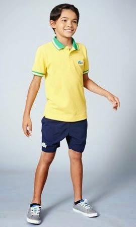 polo e bermuda infantil Lacoste Rio coleção para a Copa do Mundo Brasil 2014