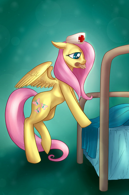 An updated version of a commission of Fluttershy Nurse as posters are still available