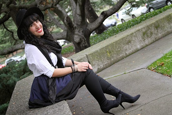Classic Black Hat White Button Down and Knee High Boots