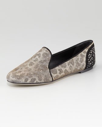 B Brian Atwood Metallic Leopard-Print smoking slipper