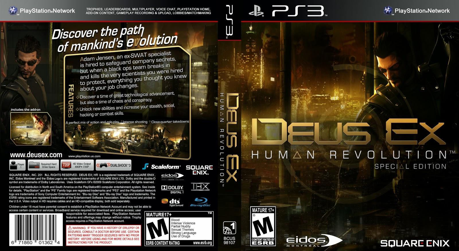 Capa DVD Deus Ex Human Revolution Special Edition PS3