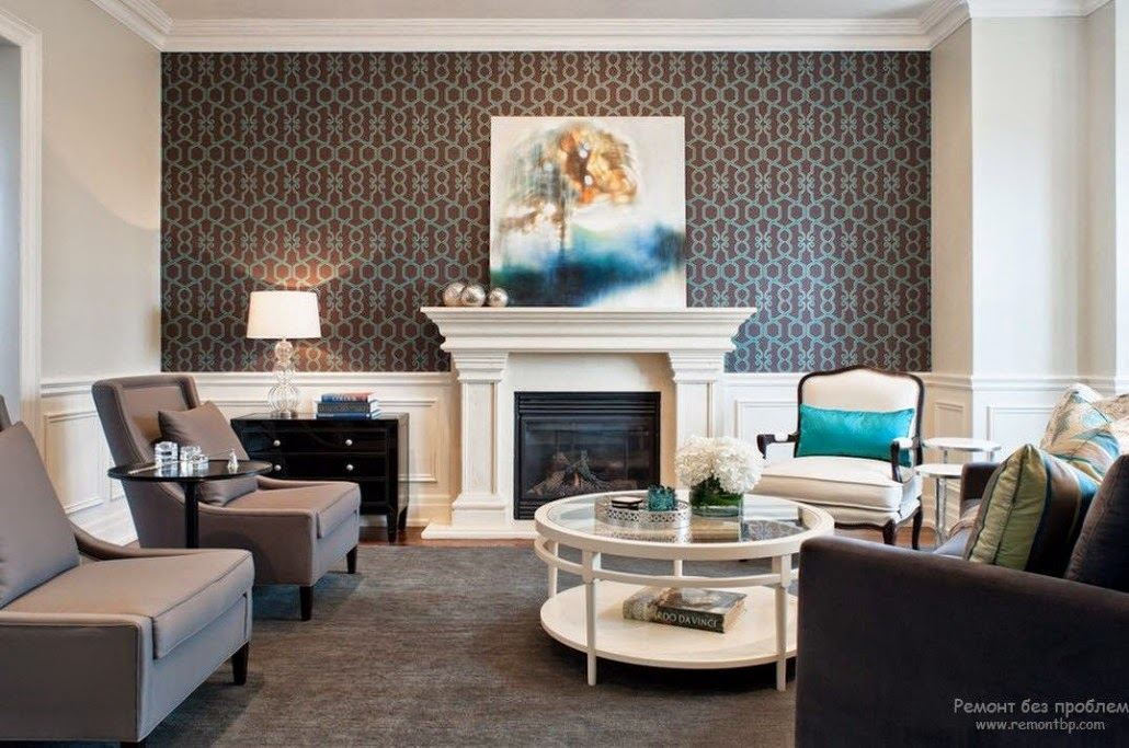 Trendy living room wallpaper ideas colors patterns and types for Living room paper ideas