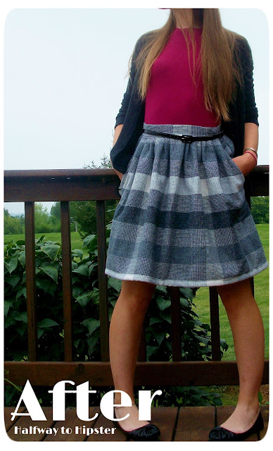 Grey Striped Skirt Refashion