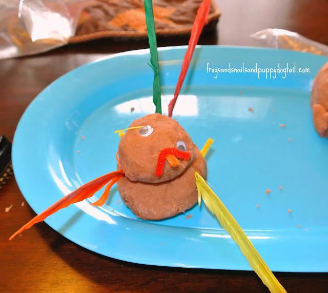Playdough Turkeys for Thanksgiving