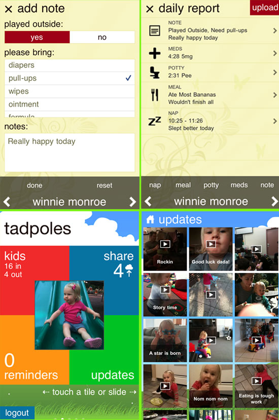 tadpoles childcare management apps get updated