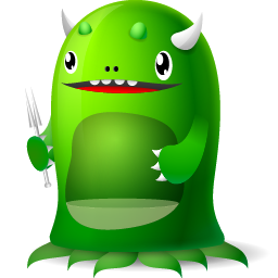 funny moster icon for trash empty
