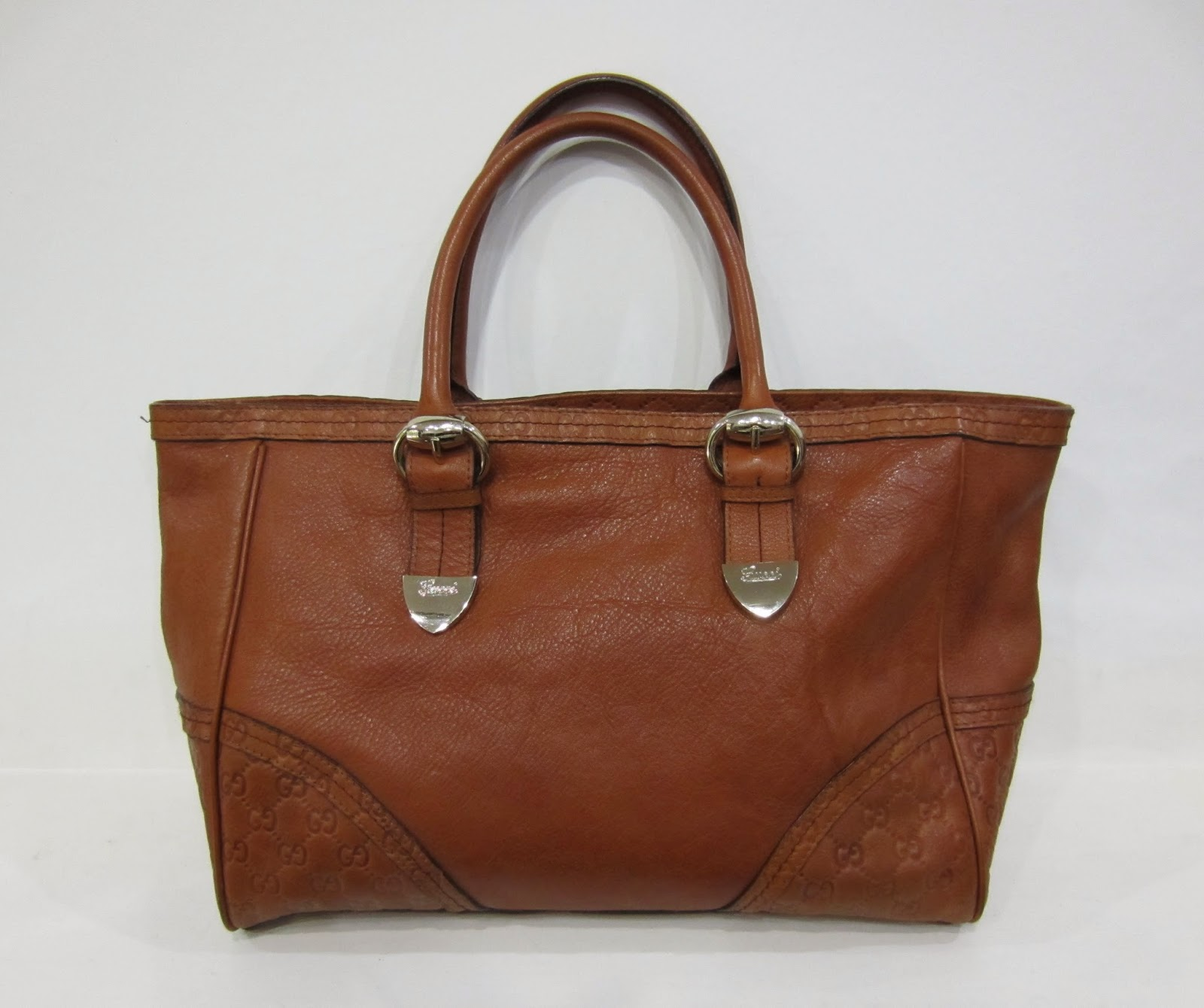 Gucci Brown Leather Vintage Style Tote Bag
