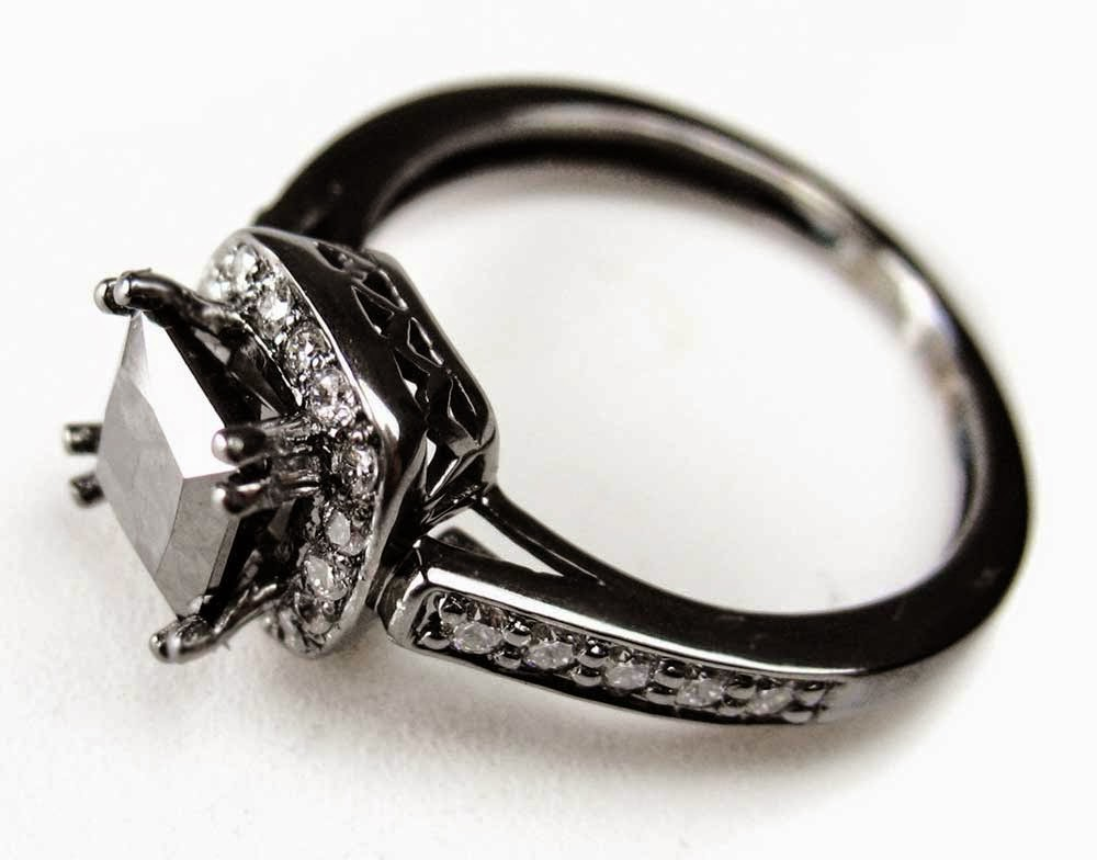 Silver Diamond Black Wedding Rings Model