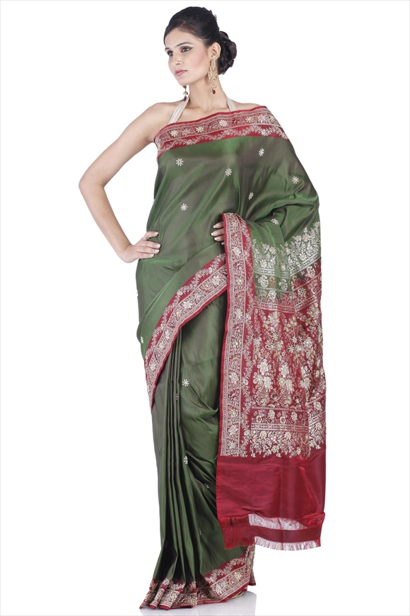 Olive Green Satin Banarasi Saree