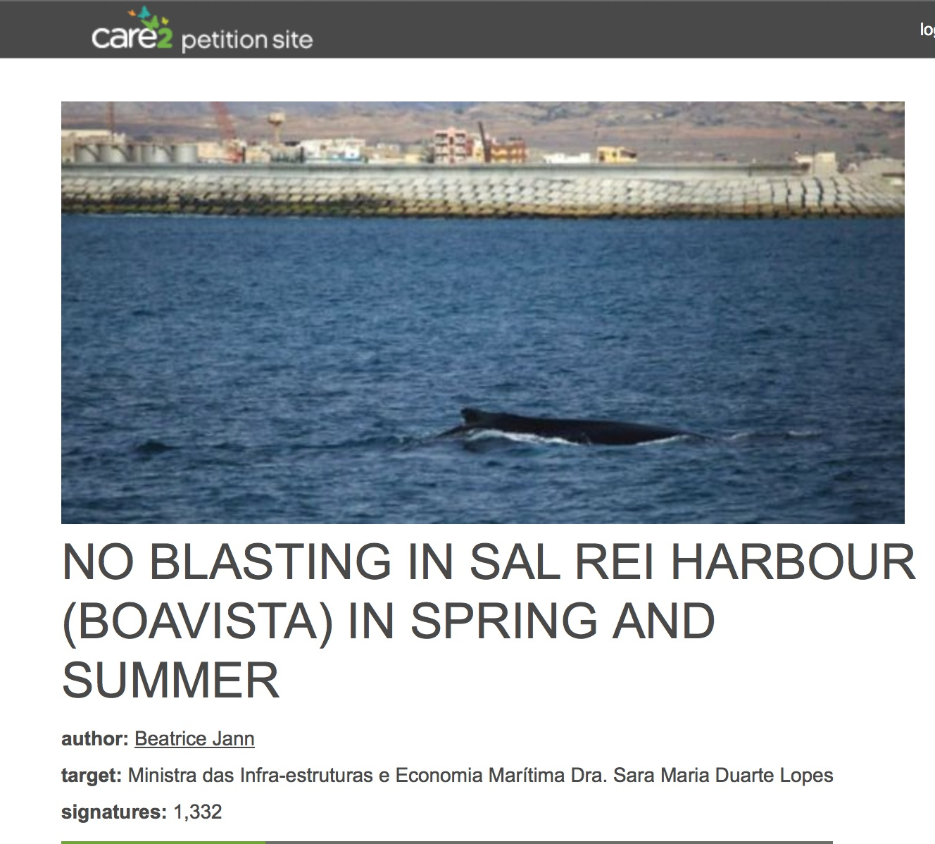 Petition no blasting in Sal Rei Cabo Verde