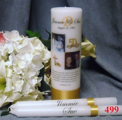 50TH ANNIVERSARY TAPER CANDLE SET