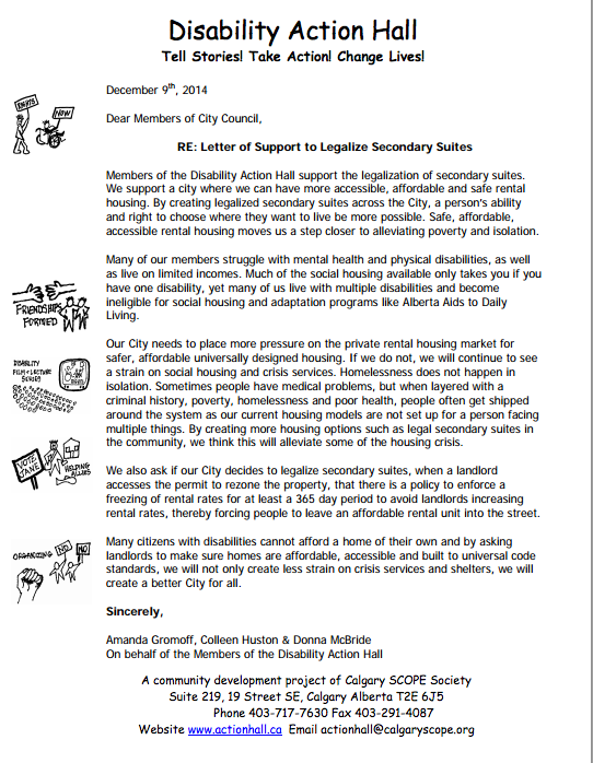 Letter of support from the Disability Action Hall