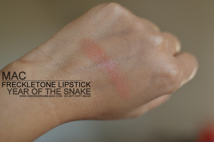 MAC Lipstick Freckletone Lustre Year of the Snake YOTS Makeup Collection Indian Beauty Blog Darker Skin Review Swatches FOTD Looks