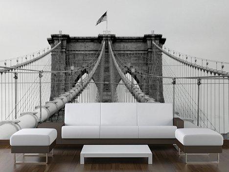 Finaste huset lyckat med fototapet for Brooklyn bridge mural