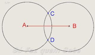 Intersecção das duas circunferências. Pontos C e D para determinar a mediatriz.