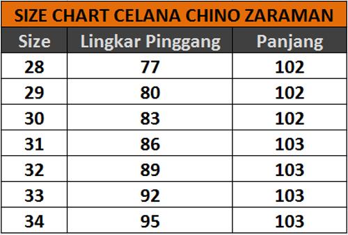 Size Chart Celana Chino