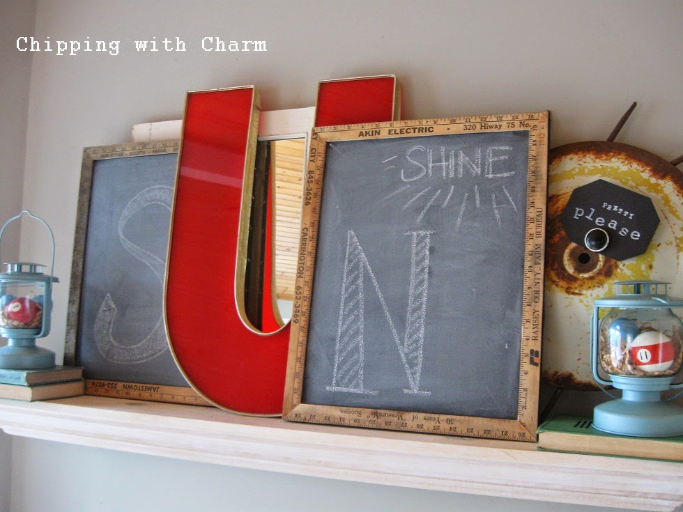 Chipping with Charm:  Spring SUN Shine Mantel...http://www.chippingwithcharm.blogspot.com/