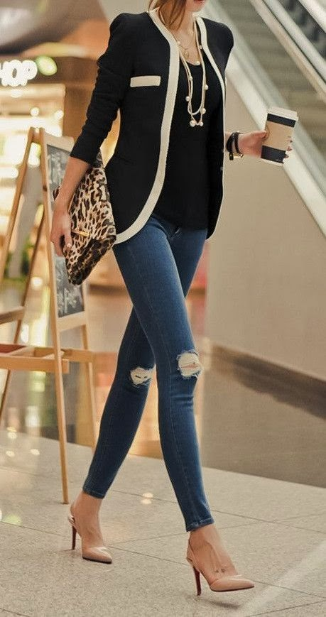 Black blazer and skinny jean