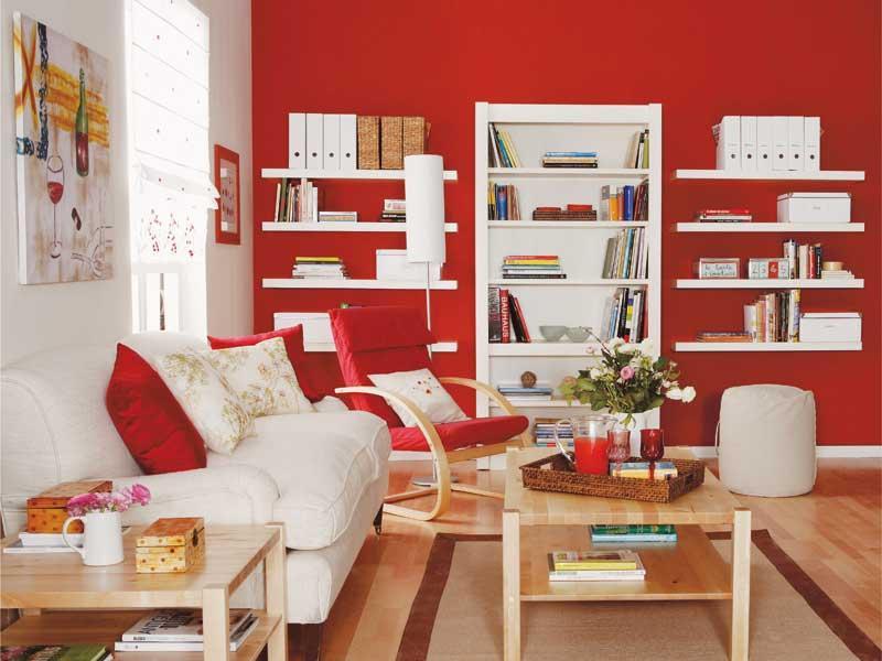 Decorar el sal n en rojo for Muebles de oficina jovalu